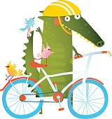 Funny crocodile with bicycle and colorful birdies. Cute wild bicyclist. Isolated cartoon character for children books, greeting cards and other design projects. Vector illustration