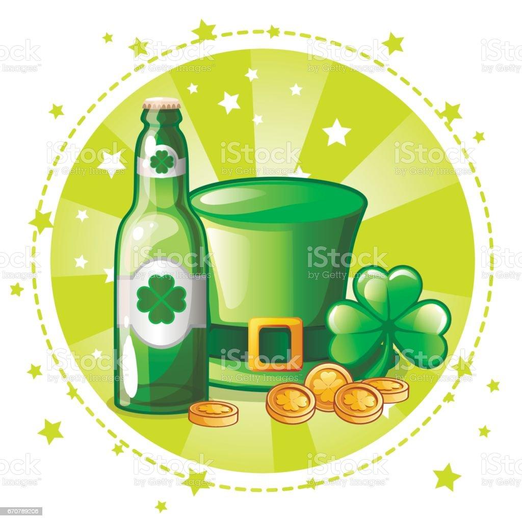Chapeau Vert De Bande Dessinée Trèfle Et Bouteille De Bière