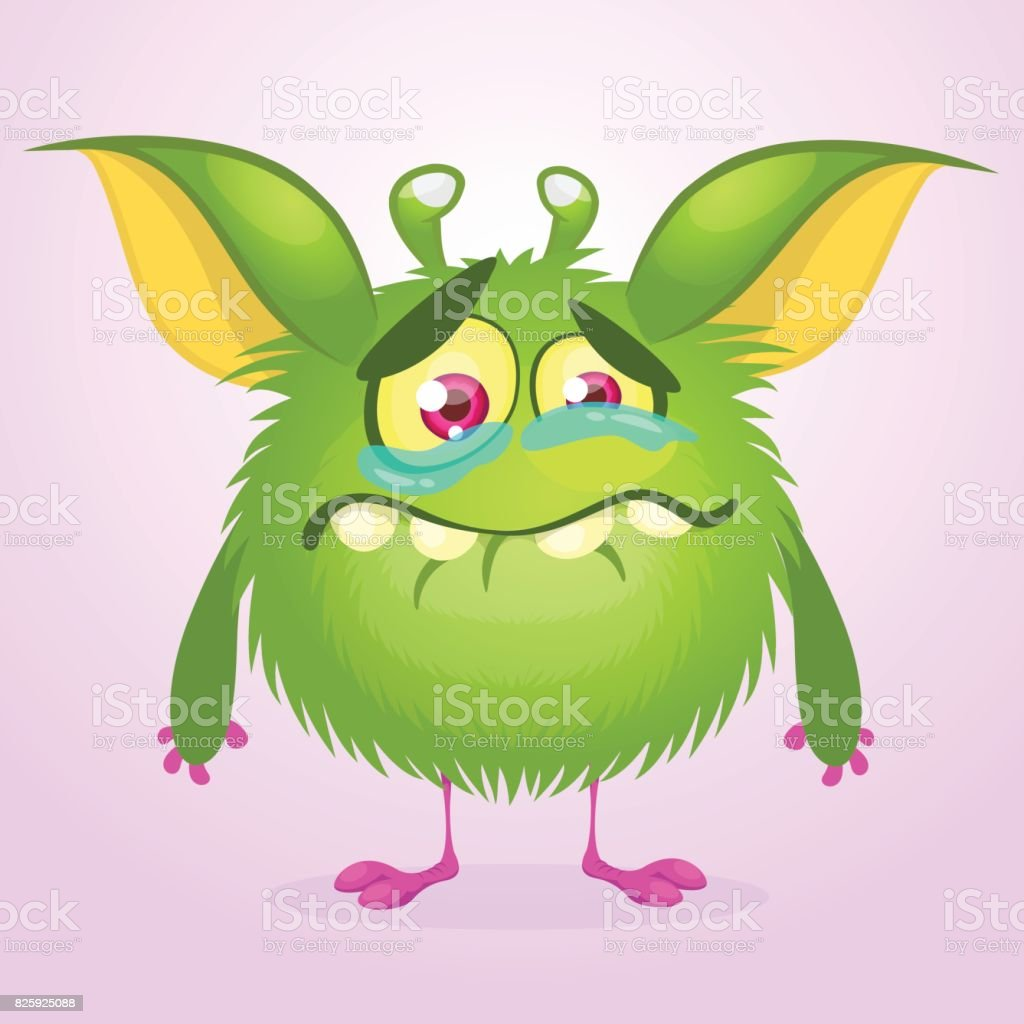 cartoon green monster crying vector illustration of furry round
