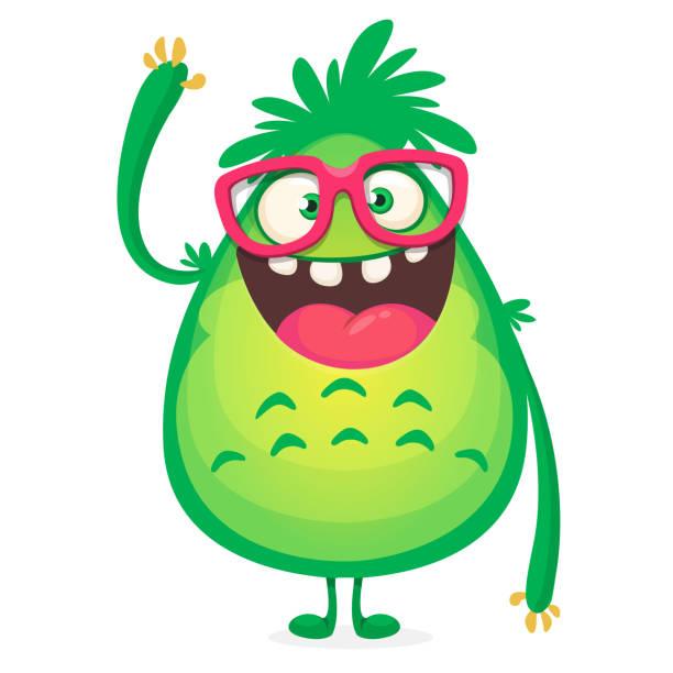 Cartoon-grünes Monster-Nerd Brille. Vektor-Illustration isoliert – Vektorgrafik