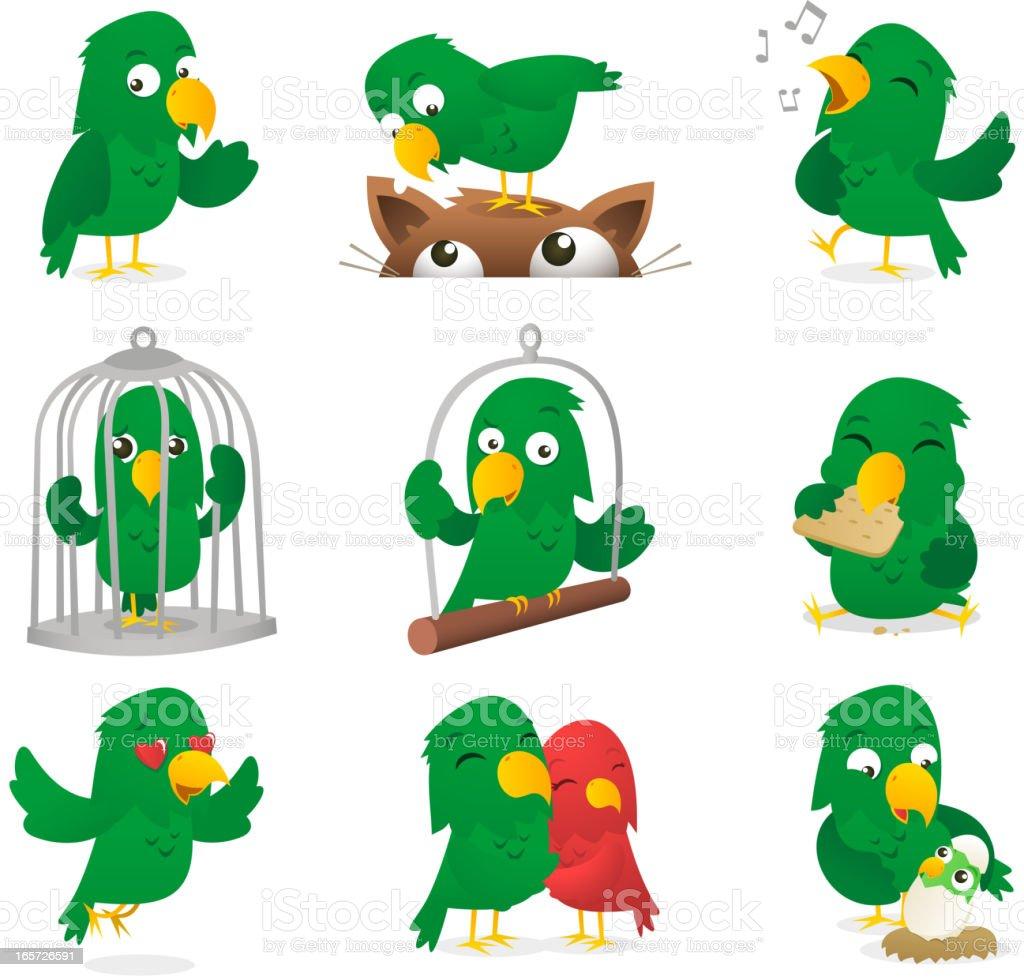 Perroquet vert en dessin anim ins parable polly set collection cliparts vectoriels et plus d - Perroquet en dessin ...