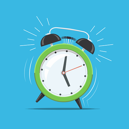 Cartoon green ringing clock alarm. Concept for wake up times or reminder. Vector illustration in flat style.