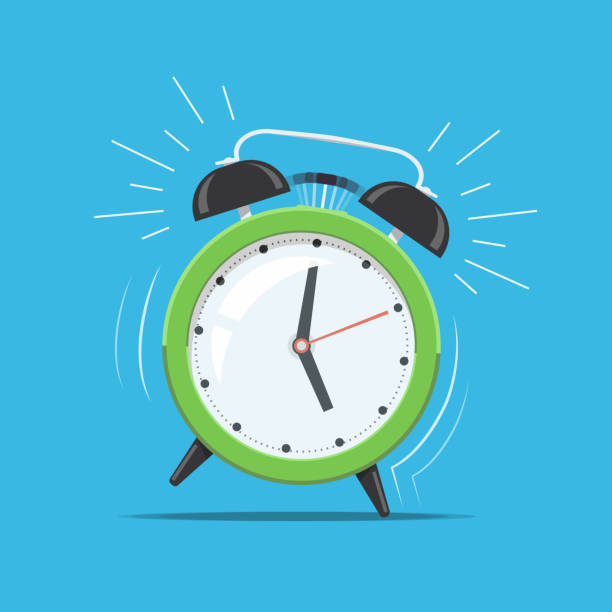 Cartoon green ringing clock alarm. Concept for wake up times or reminder. Vector illustration in flat style. vector art illustration
