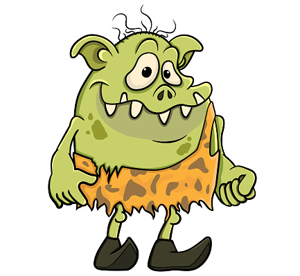 Cartoon green troll in the clothes of a prehistoric man. isolated on white background vector