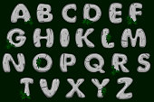 Cartoon grey stone alphabet font, ABC. Stock typeface for your design.