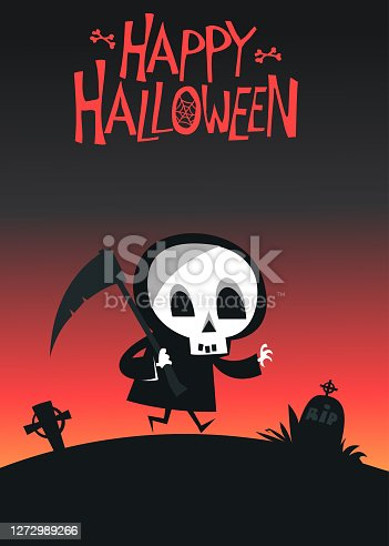 istock Cartoon grim reaper. Death skeleton illustration.  Halloween layout design 1272989266