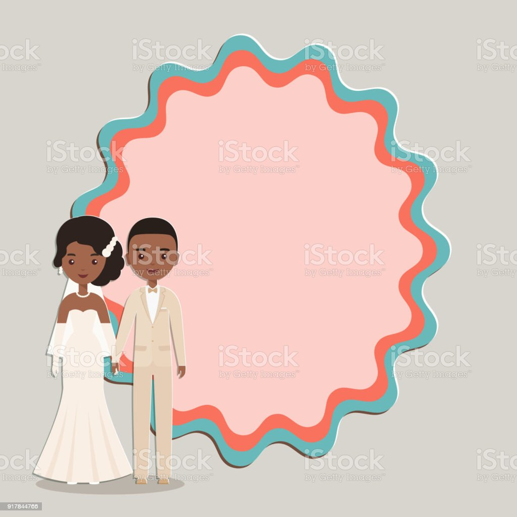 Cartoon groom, bride with space for text. Vector illustration. vector art illustration