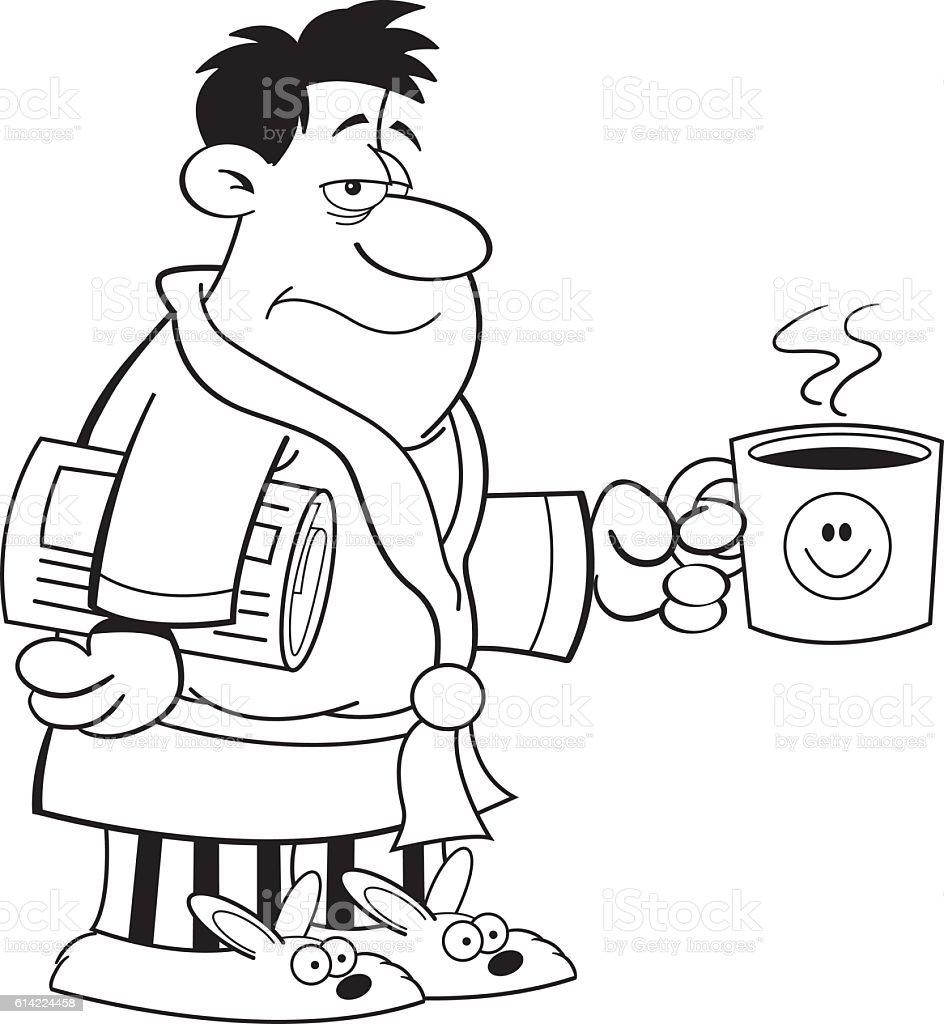 Cartoon grouchy man. vector art illustration