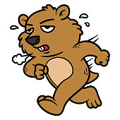 Cartoon Groundhog Character Running