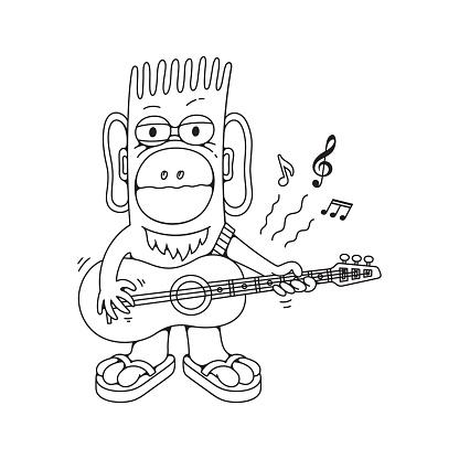 Cartoon guitar player character