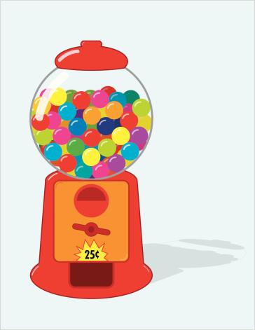 Cartoon gum ball coin operated machine