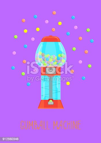 Cartoon Gumball Machine and Gum Card Poster Vending Element Concept Flat Style Design. Vector illustration