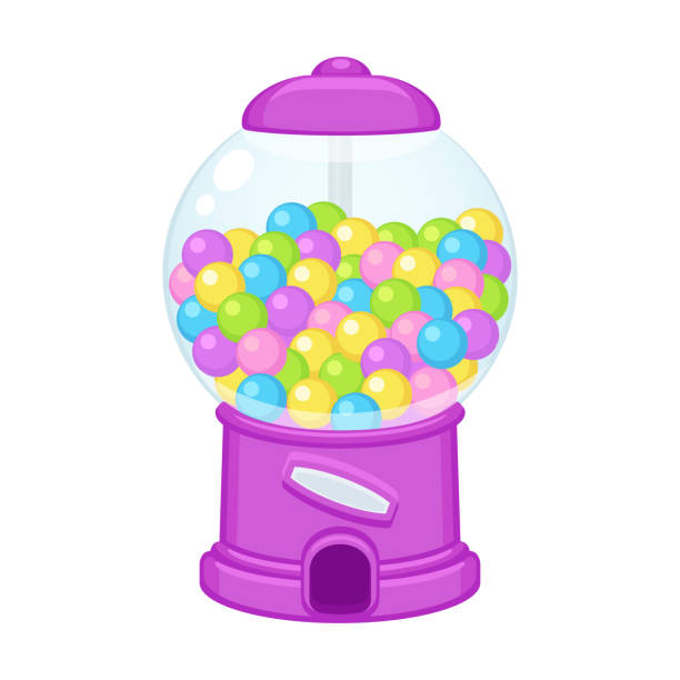 cartoon gummiball-maschine - gummibonbon stock-grafiken, -clipart, -cartoons und -symbole