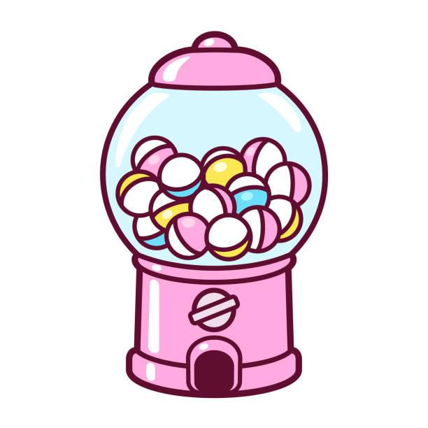 Cartoon gumball machine vector art illustration