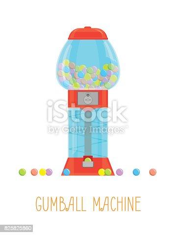 Cartoon Gumball Machine and Gum Set Vending Element Concept Flat Style Design. Vector illustration