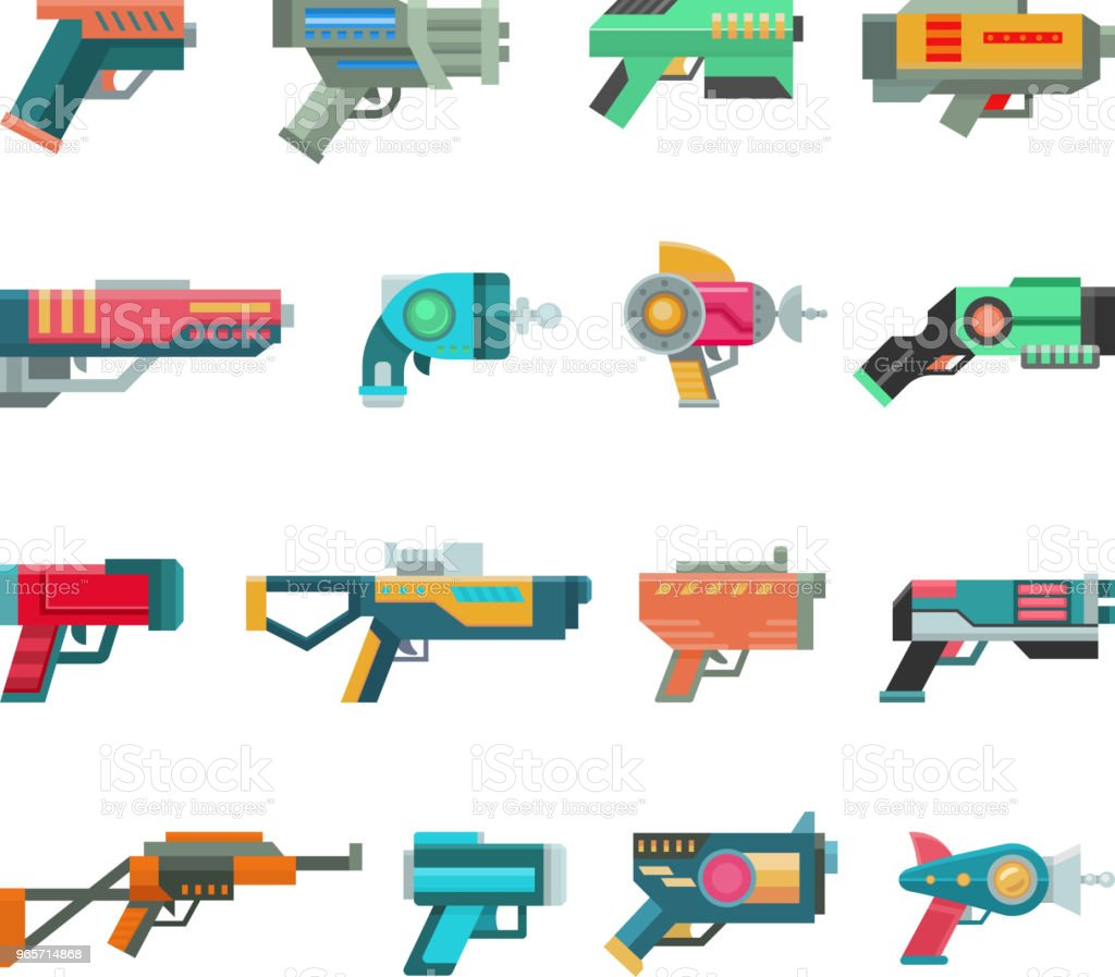 Cartoon gun vector toy blaster for kids game with futuristic handgun and children raygun of aliens in space illustration set of child pistols and laser weapon isolated on white background - Royalty-free Alien stock vector