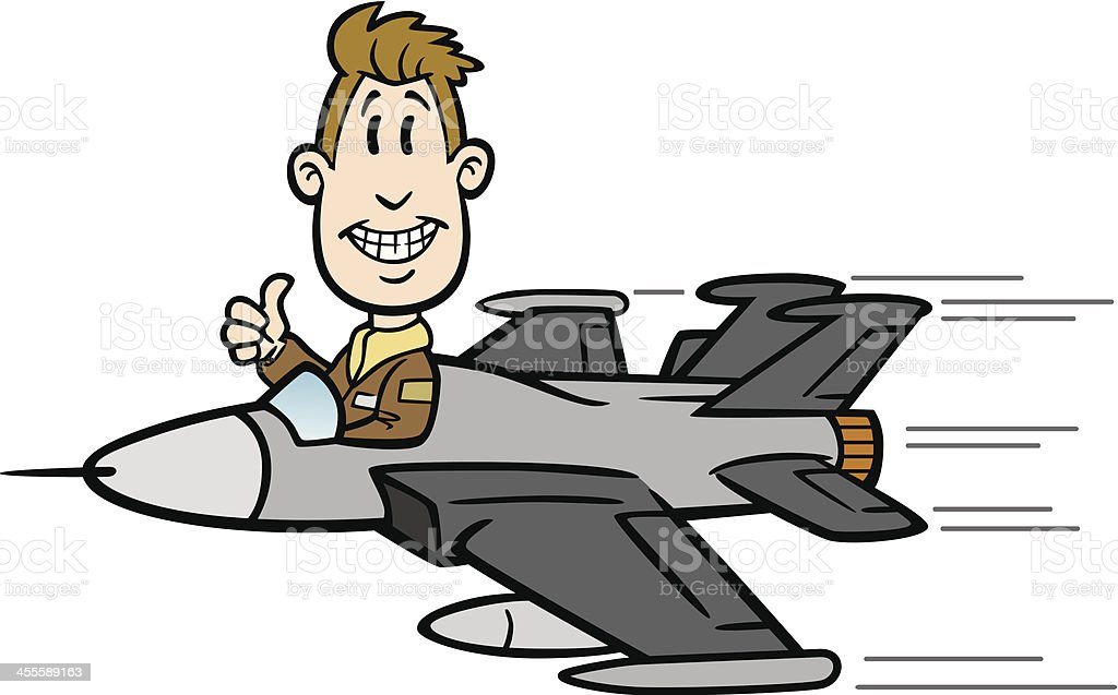 Cartoon Guy Flying Fighter Jet royalty-free stock vector art