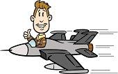 Cartoon Guy Flying Fighter Jet