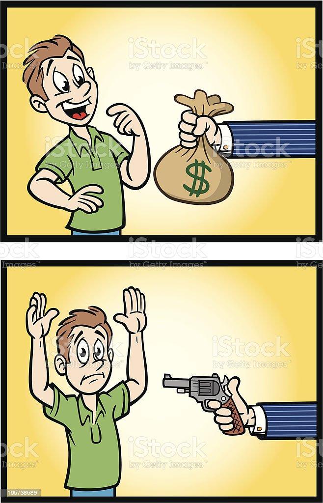 Cartoon Guy Getting and Loosing Money vector art illustration