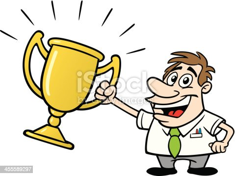 Cartoon Guy Holding Trophy Stock Vector Art & More Images ...