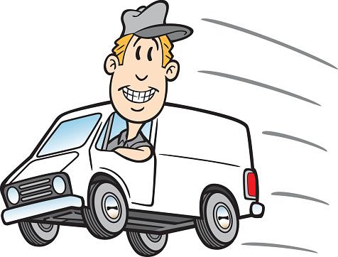 Cartoon Guy In Delivery Van