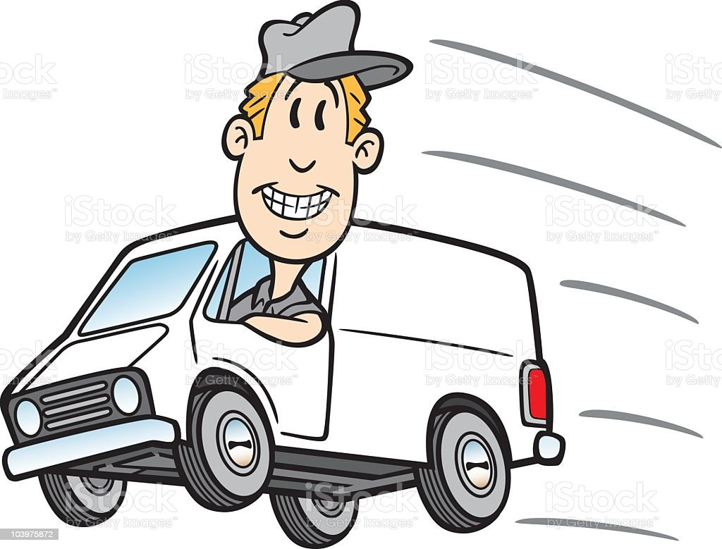 Cartoon Guy In Delivery Van vector art illustration