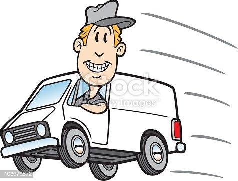 Cartoon Guy In Delivery Van stock vector art 103975872 ...
