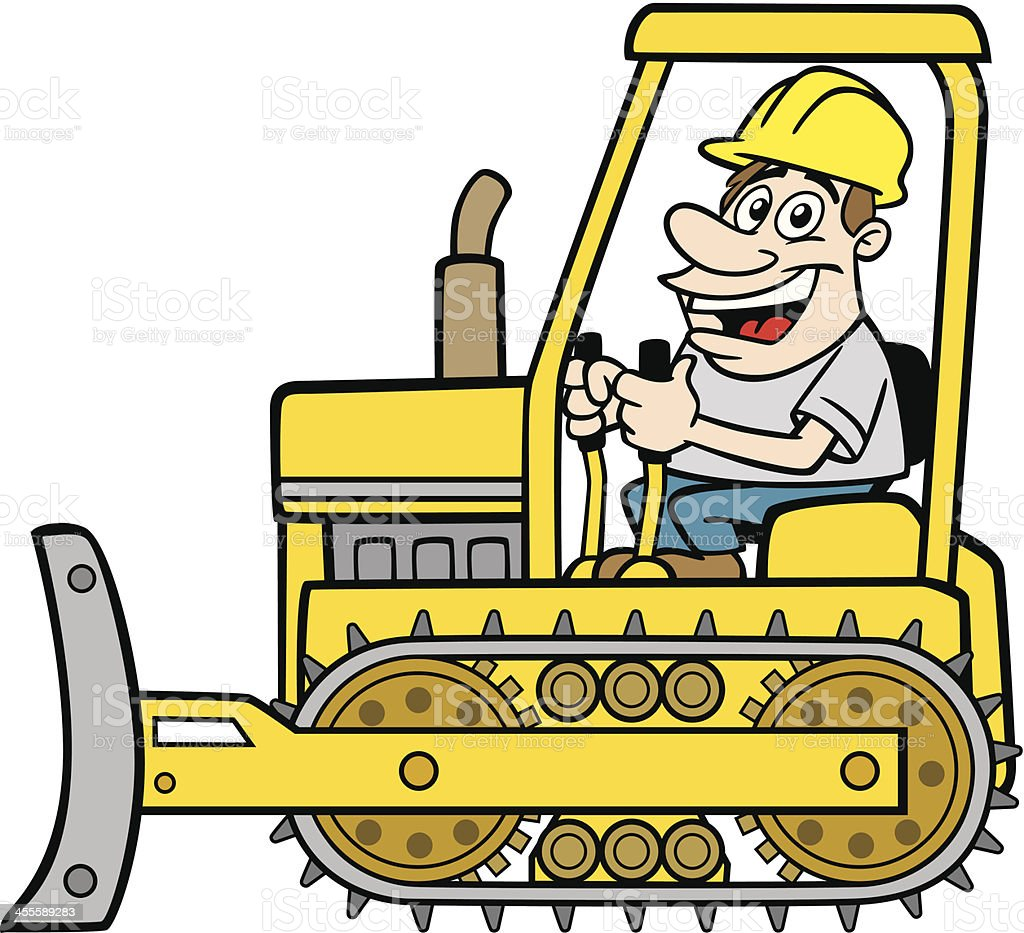 Man On Bulldozer : Cartoon guy on bulldozer stock vector art more images of