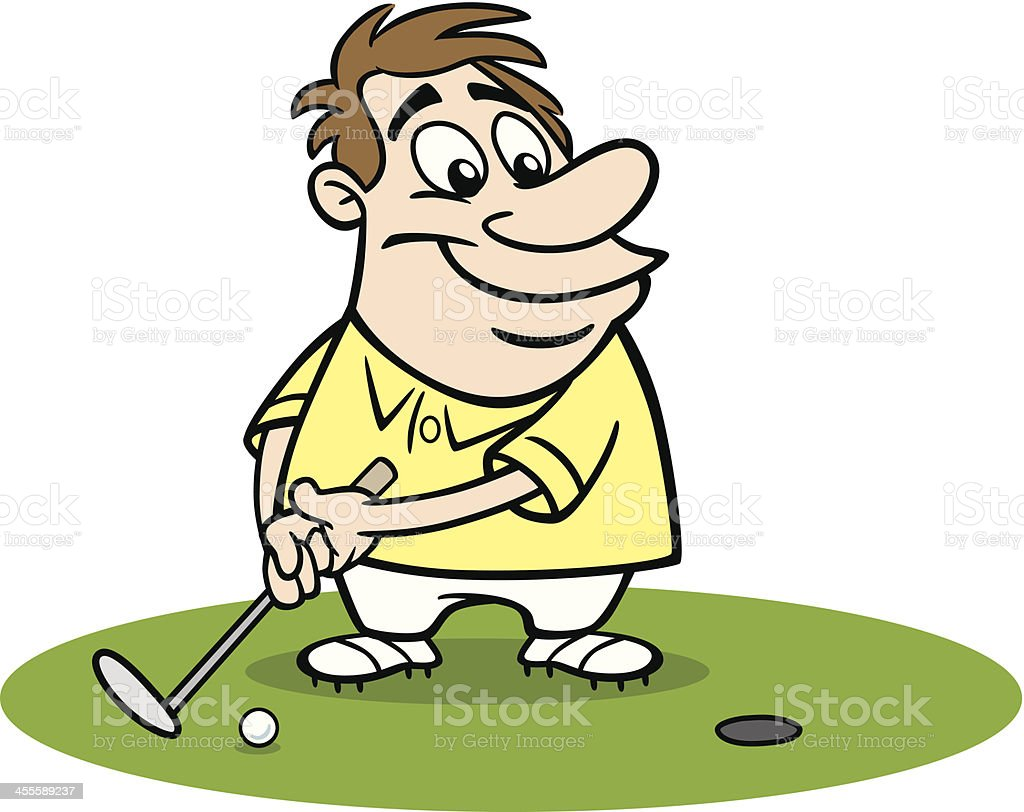 Cartoon Guy Putting At Golf vector art illustration