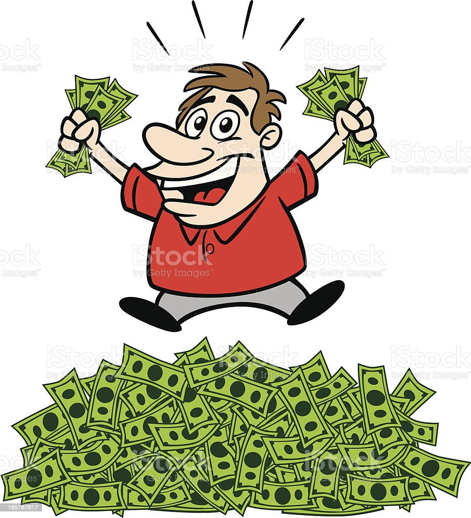 Cartoon Guy With Cash vector art illustration