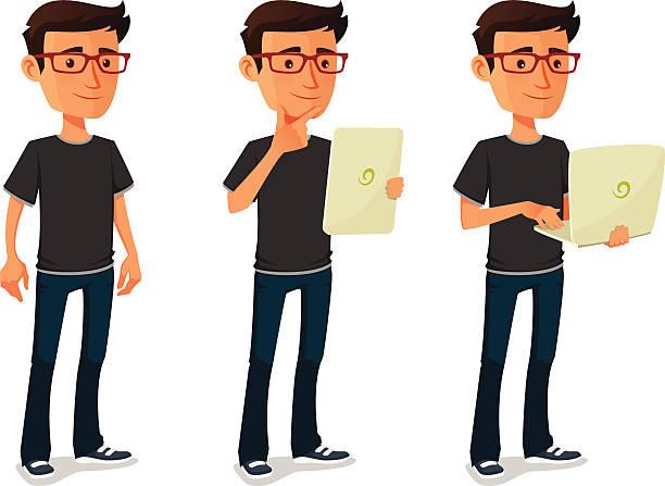 comic mann mit tablet, notebook - nerd stock-grafiken, -clipart, -cartoons und -symbole