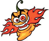 cartoon habanero pepper with flames shooting out of its mouth