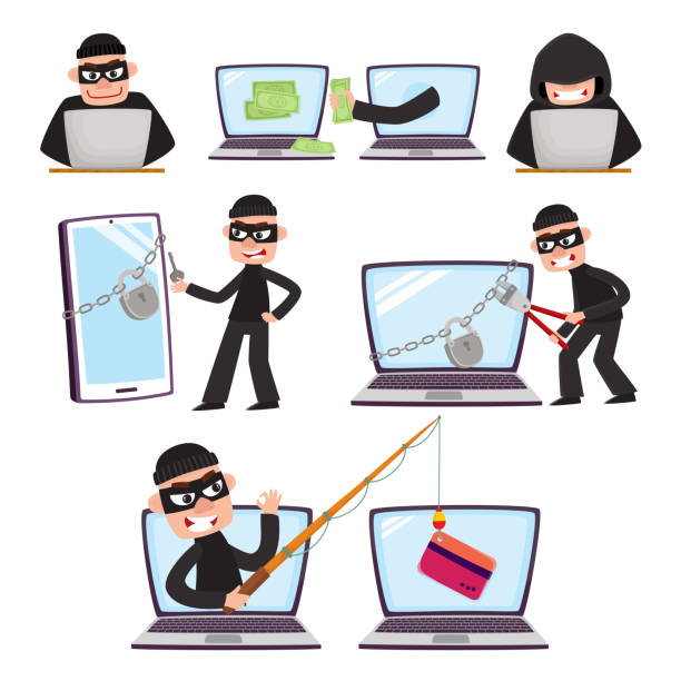 Cartoon hackers using laptop, stealing money Hacker using laptop, stealing credit card information, money, fishing, breaking PIN code, cartoon vector illustration isolated on white background. Computer hacker stealing, breaking, attacking hacker stock illustrations