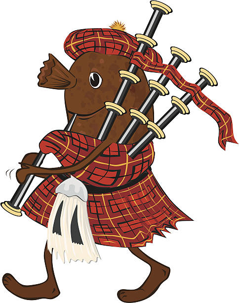 cartoon haggis in tartan kilt playing bagpipes - haggis stock illustrations, clip art, cartoons, & icons