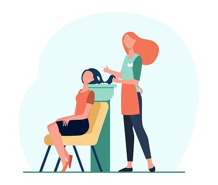 Cartoon hairdresser washing client hair flat vector illustration