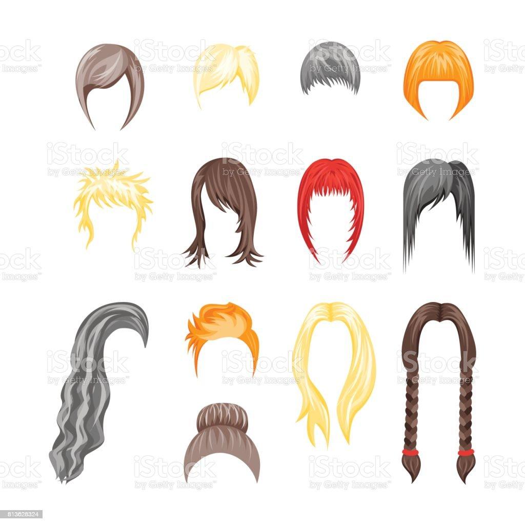 Cartoon Hairstyles Woman Set. Vector vector art illustration