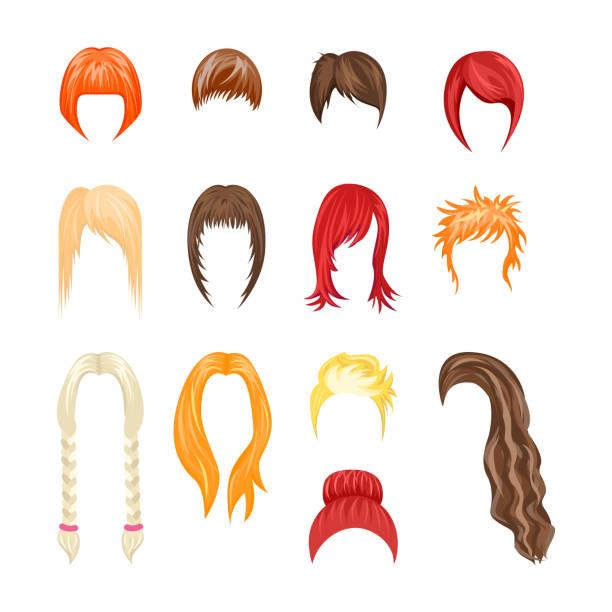 ilustraciones, imágenes clip art, dibujos animados e iconos de stock de conjunto de mujer peinados de dibujos animados. vector de - cabello castaño