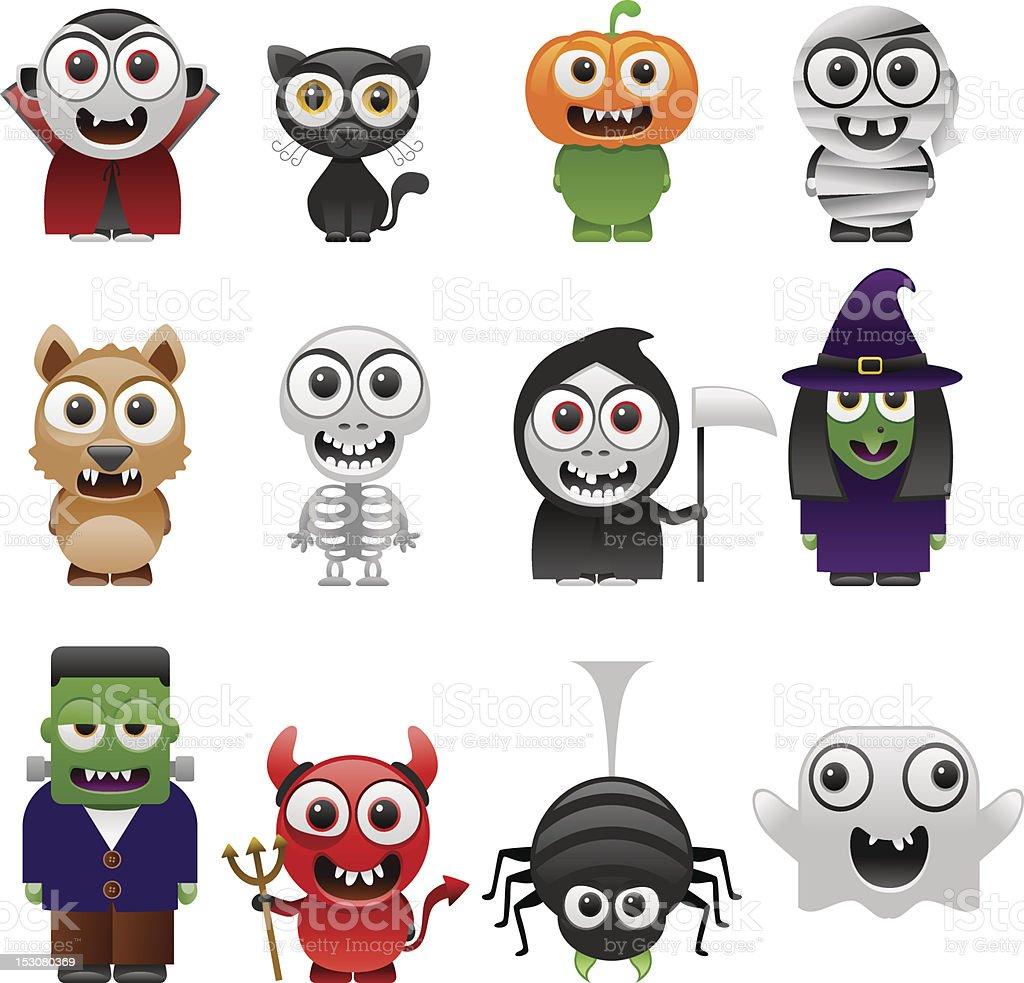 cartoon halloween characters set royalty-free stock vector art