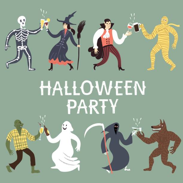 Cartoon halloween characters set. Set of funny horror cartoon characters. Halloween party vintage title. Editable vector illustration for your design. werewolf stock illustrations