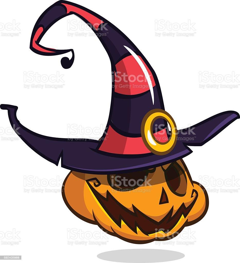 cartoon halloween pumpkin head in witch hat vector isolated stock