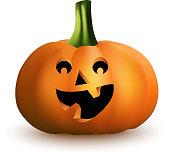 白い背景の上の幸せそうな顔で漫画ハロウィンかぼちゃ