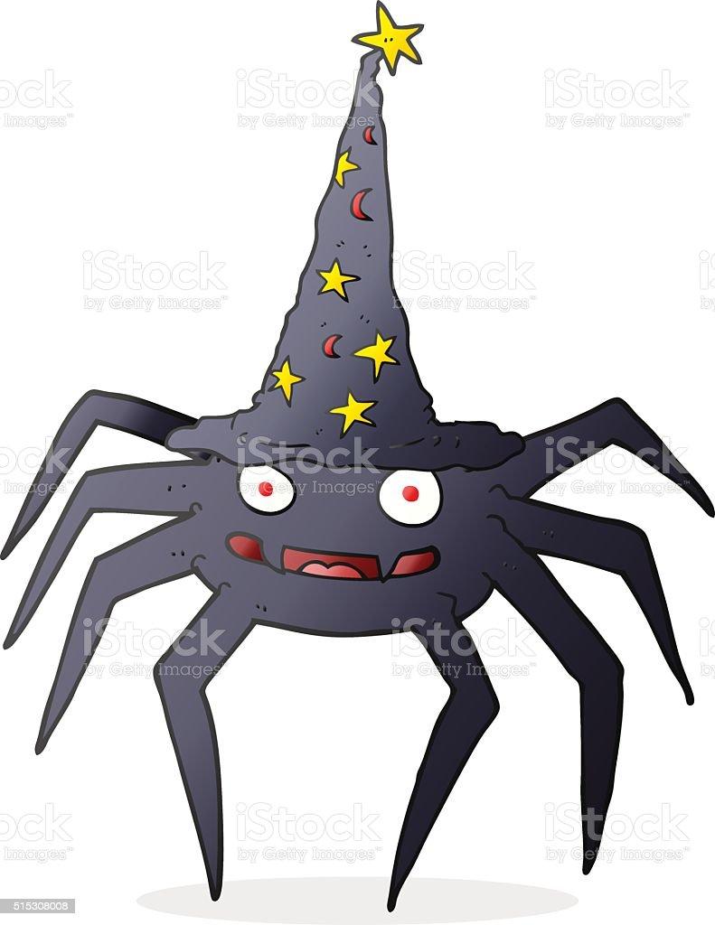 Ilustracion De Arana Halloween De Dibujos Animados Con Sombrero De - Dibujos-araas-halloween