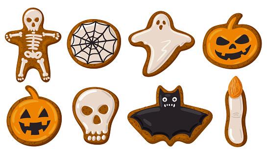 Cartoon Halloween spooky gingerbread cookies, pumpkin, skull and ghost