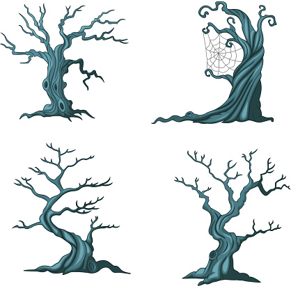 Cartoon Halloween trees collection set