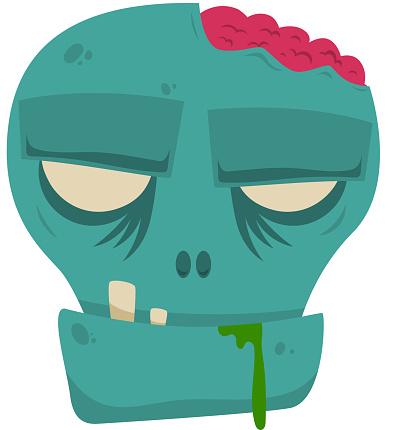 Cartoon halloween zombie head. Design element for poster, card, banner, flyer. Vector illustration
