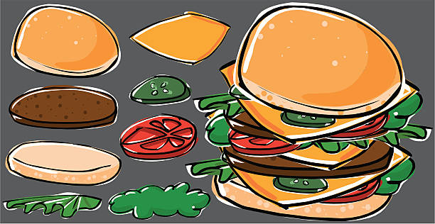 cartoon hamburger sandwich with the all separated pieces to set a new one. pickle slice stock illustrations