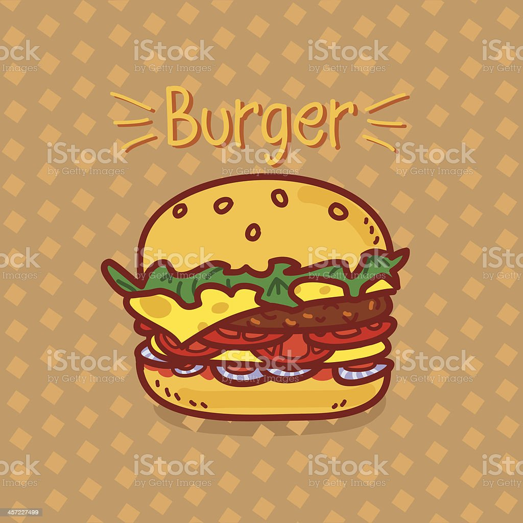 Cartoon hamburger with an inscription on a brown background royalty-free cartoon hamburger with an inscription on a brown background stock vector art & more images of beef