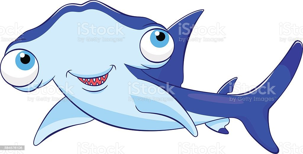 cartoon hammerhead shark stock vector art more images of animal rh istockphoto com hammerhead shark cartoon character cartoon hammerhead shark images