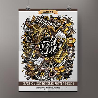 Cartoon hand drawn doodles Classic music poster design