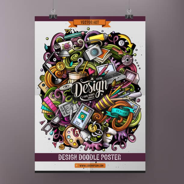 Cartoon handgezeichnete Doodles Design und Kunst Poster-Design – Vektorgrafik